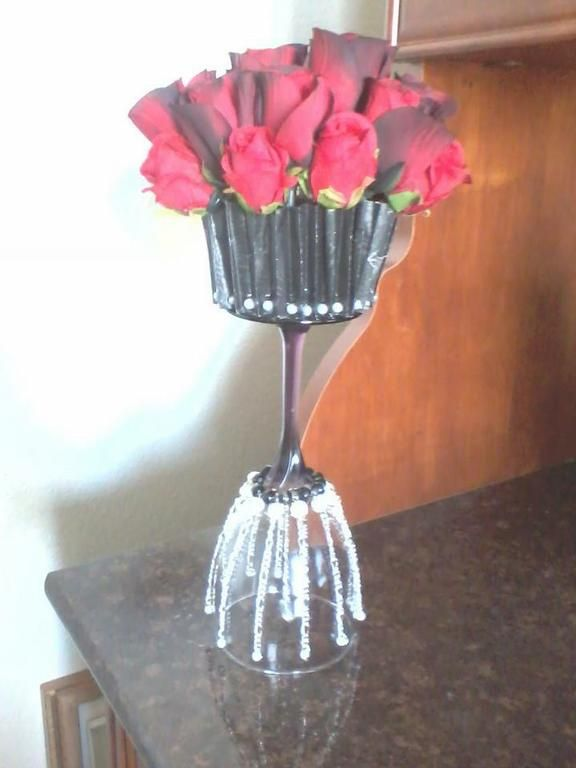 wine glass flower bouquet | Wine glass cupcake bouquet in roses by ...