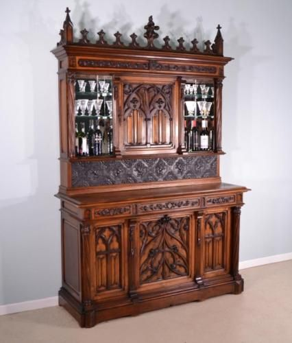 Antique French Bar And Back Bar With Neogothic/Gothic Revival Theme