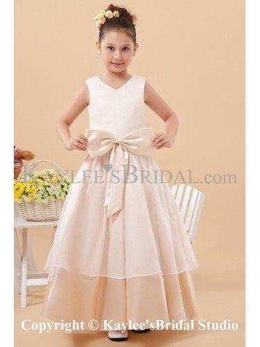 Charmeuse V-Neckline Ankle-Length A-line Flower Girl Dress with Bowknot