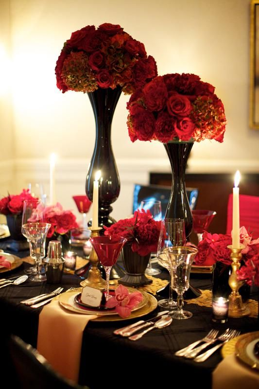Wedding Reception Ideas Table Decorations Black Red Gold Destination Weddings And Honeymoons Red Wedding