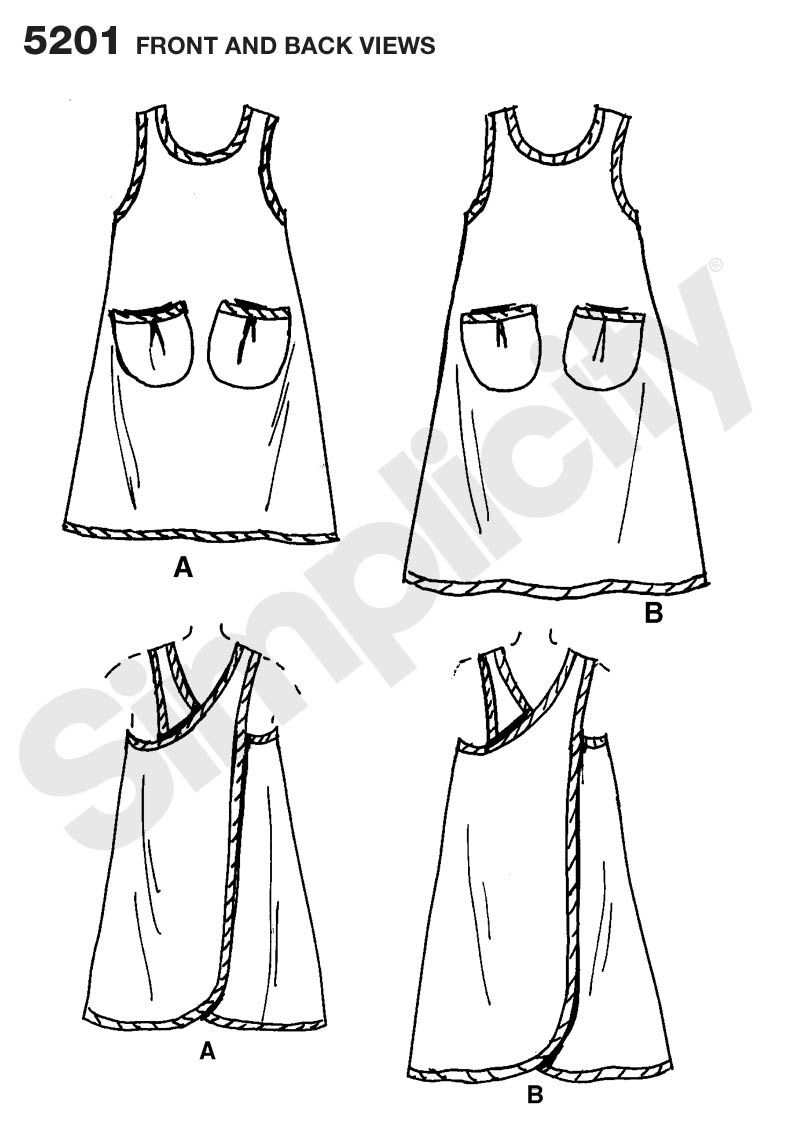 Womens Wrap-Around Apron Sewing Pattern 5201 Simplicity... This ...