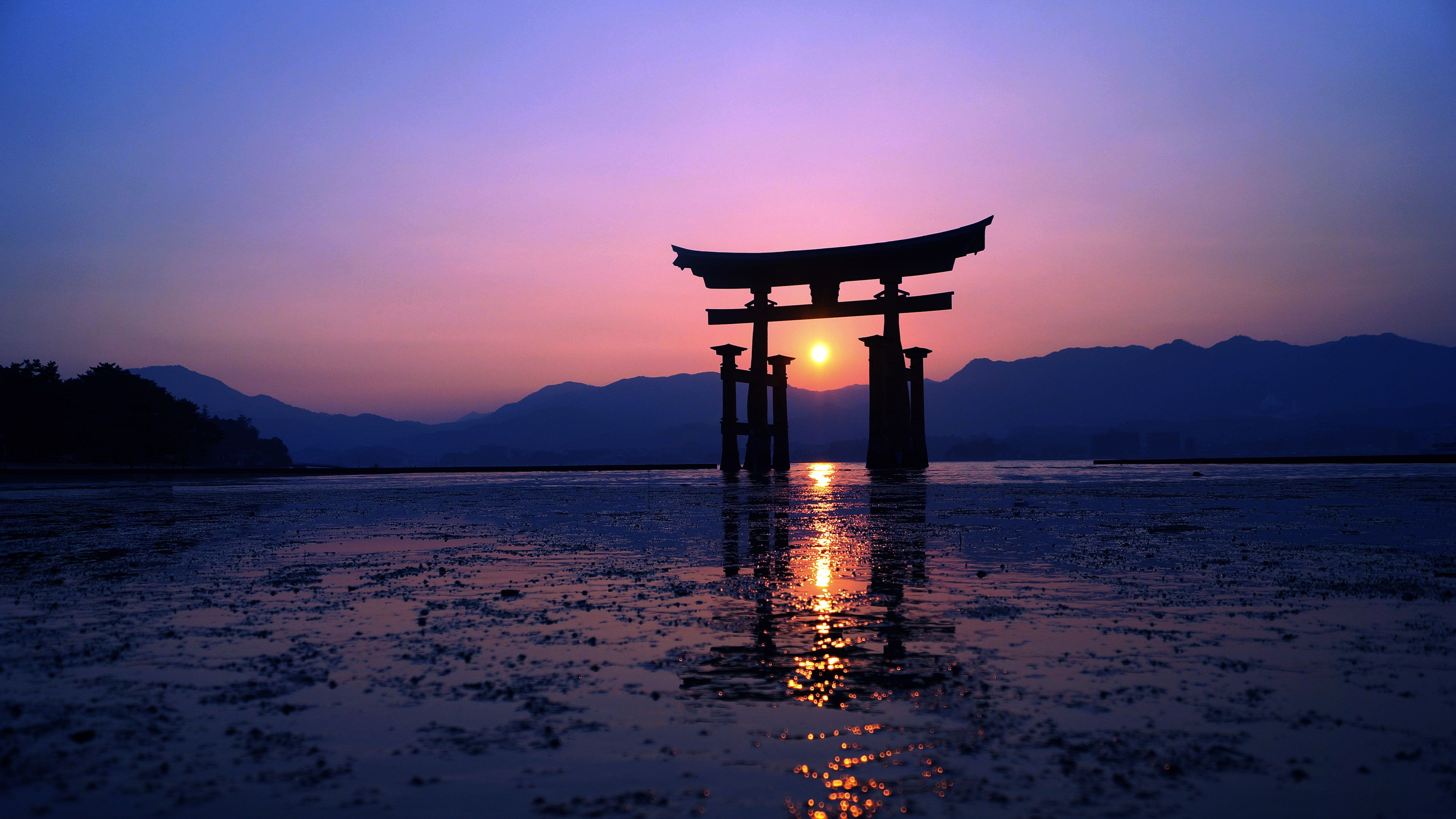 Sunset Sun Evening Purple Torii Sunlight Mountains Photography Japan Water Re Sunset Wallpaper World Wallpaper Computer Wallpaper Desktop Wallpapers