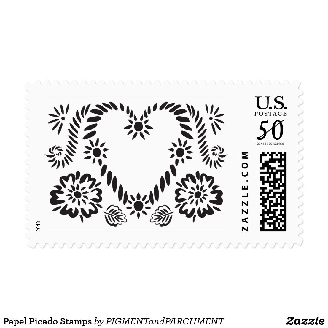 Papel Picado Stamps Love Flower Heart Flowers Black and White ...