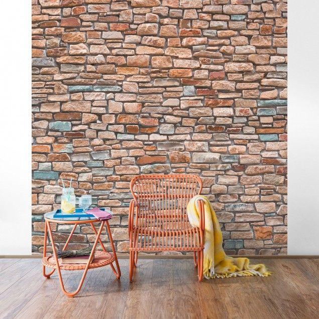 steintapete steinoptik rot t rkis vliestapete premium quadrat steintapete naturstein. Black Bedroom Furniture Sets. Home Design Ideas