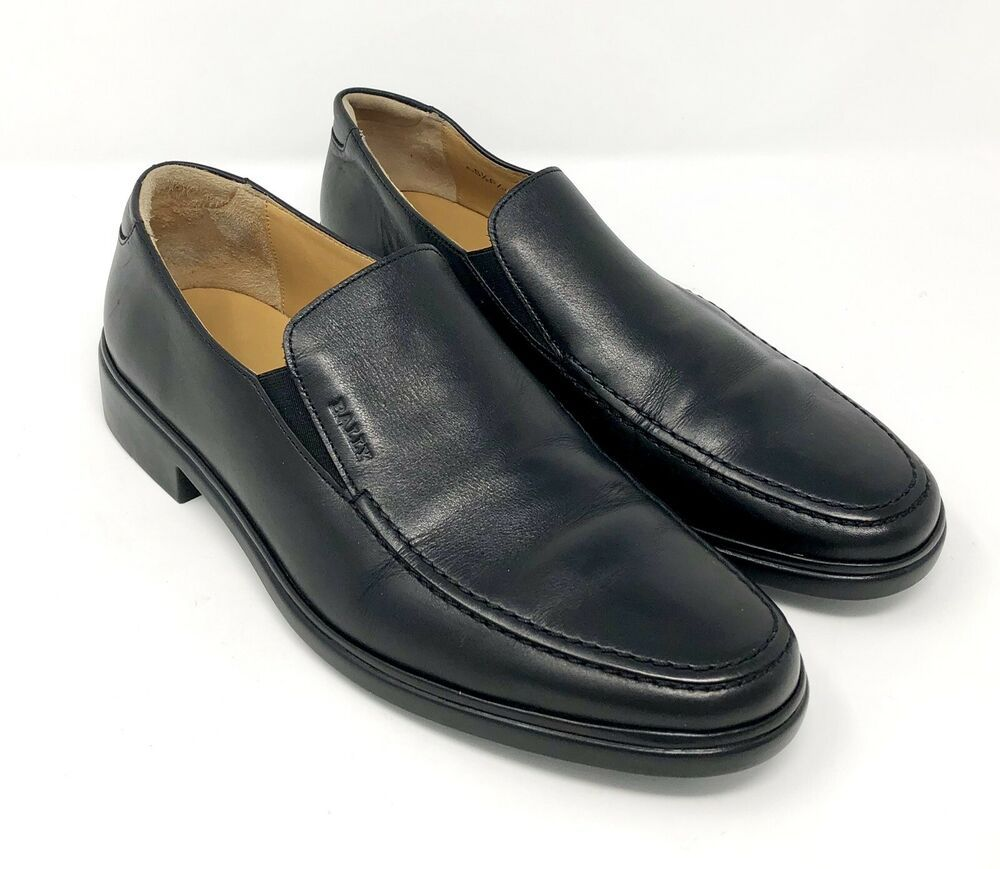 954851a91f1b2 Bally Mens Shoes 6.5 EEE 3E New Caddo Loafer Black Leather Slip On ...