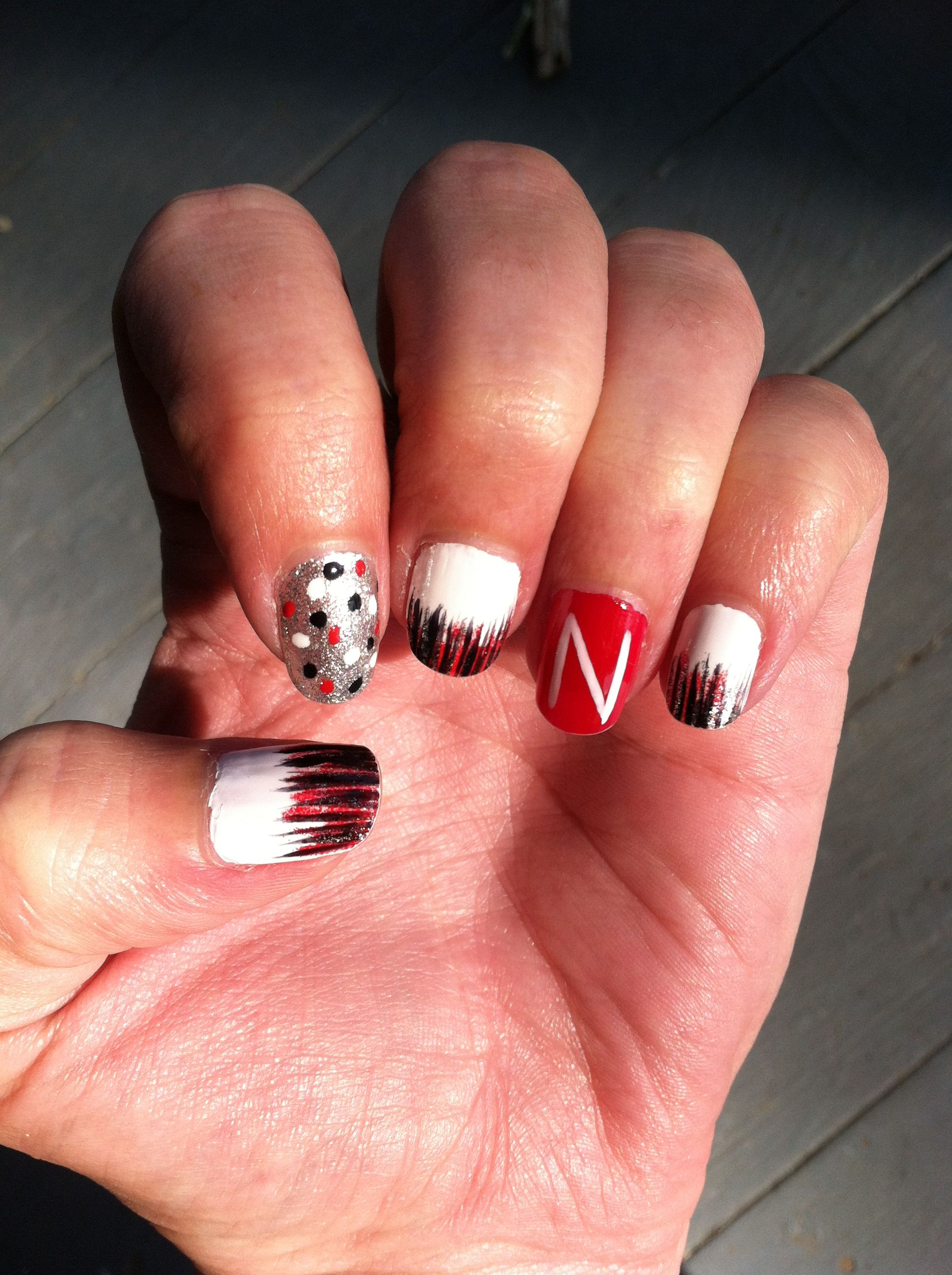 Nebraska Cornhusker Nail Art Nails Pinterest Football Nail