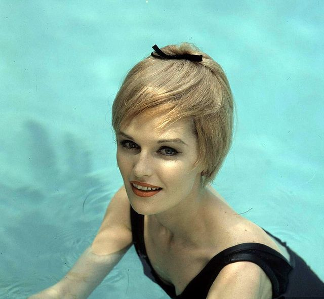 """Model is wearing a water-resistant """"hair"""" bathing cap, photo by Bob Willoughby, 1960    HOLY MOTHER OF GOD"""