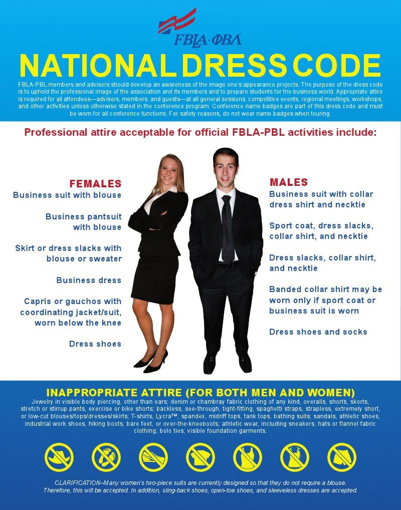 175bf18286c I have included the FBLA Dress Code to have as a reference. Most FBLA  events require professional dress for teachers and students so this will be  very ...