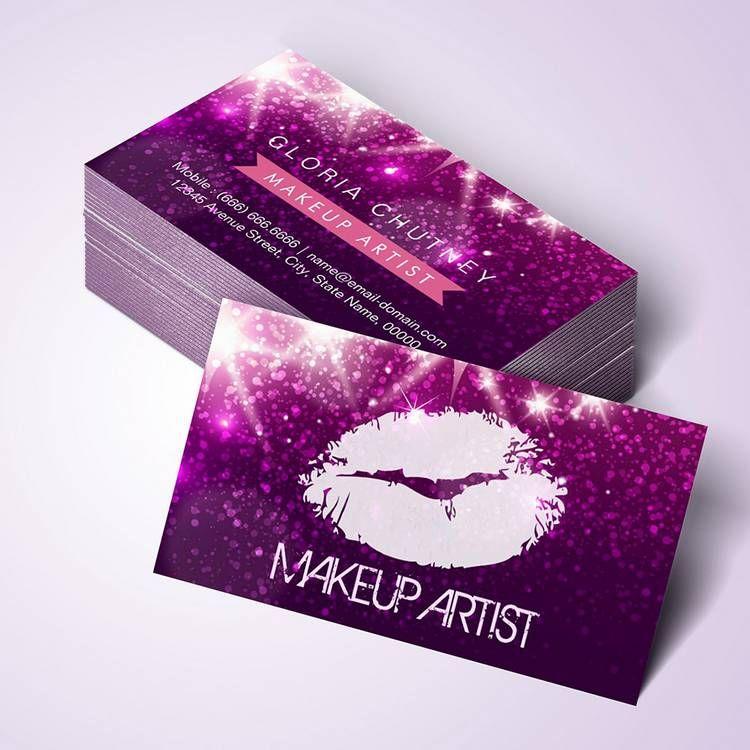 Customizable Cosmetology Makeup Artist Stylish Purple Glitter Business Card Templates