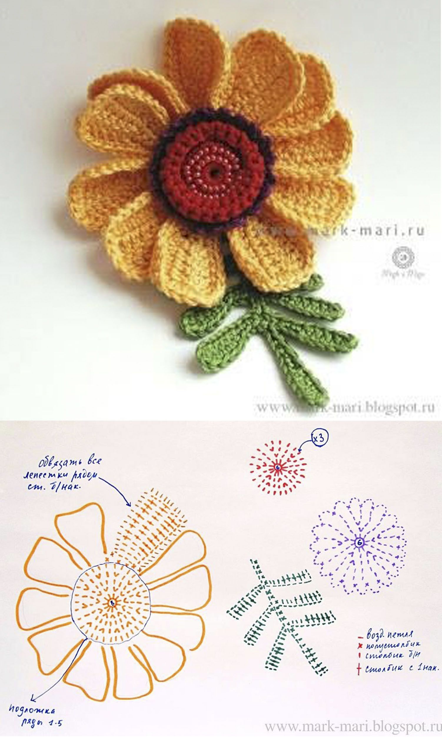 Pin von Ilona auf Цветы/крючок | Pinterest | gehäkelte Blumen ...