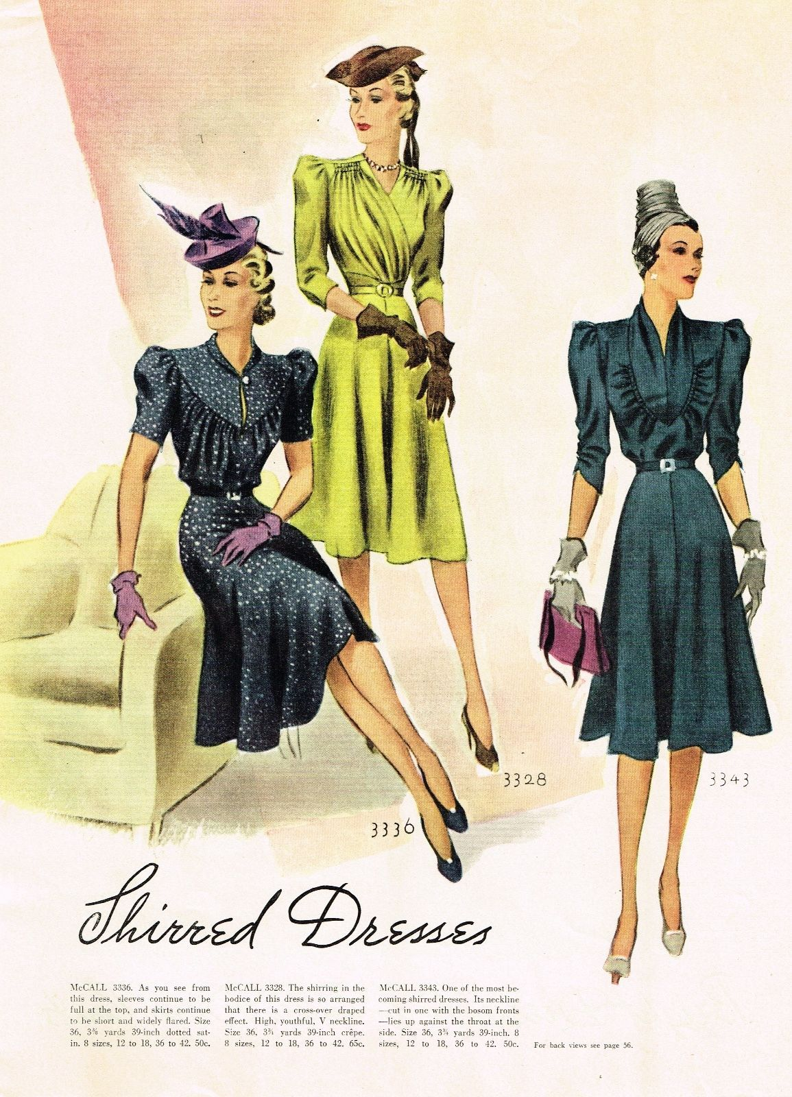 Mccall Fashion Book Autumn 1939 Featuring Mccall 3336 3328 And