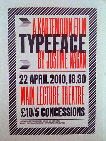 Typeface documentary poster for screening in the UK.