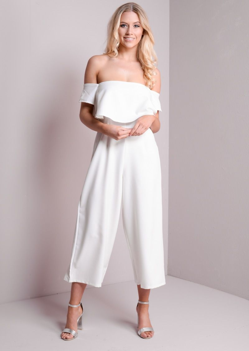 Bardot Off The shoulder Layered Culotte Jumpsuit White | outfits ...