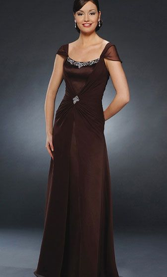 Mother Of The Bride DressesMother DressMother Dress Spring Fall Brown Cap Sleeve A Line Chiffon