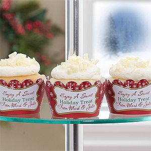 Personalized Holiday Cupcake Wrappers - Christmas Trees - 10996
