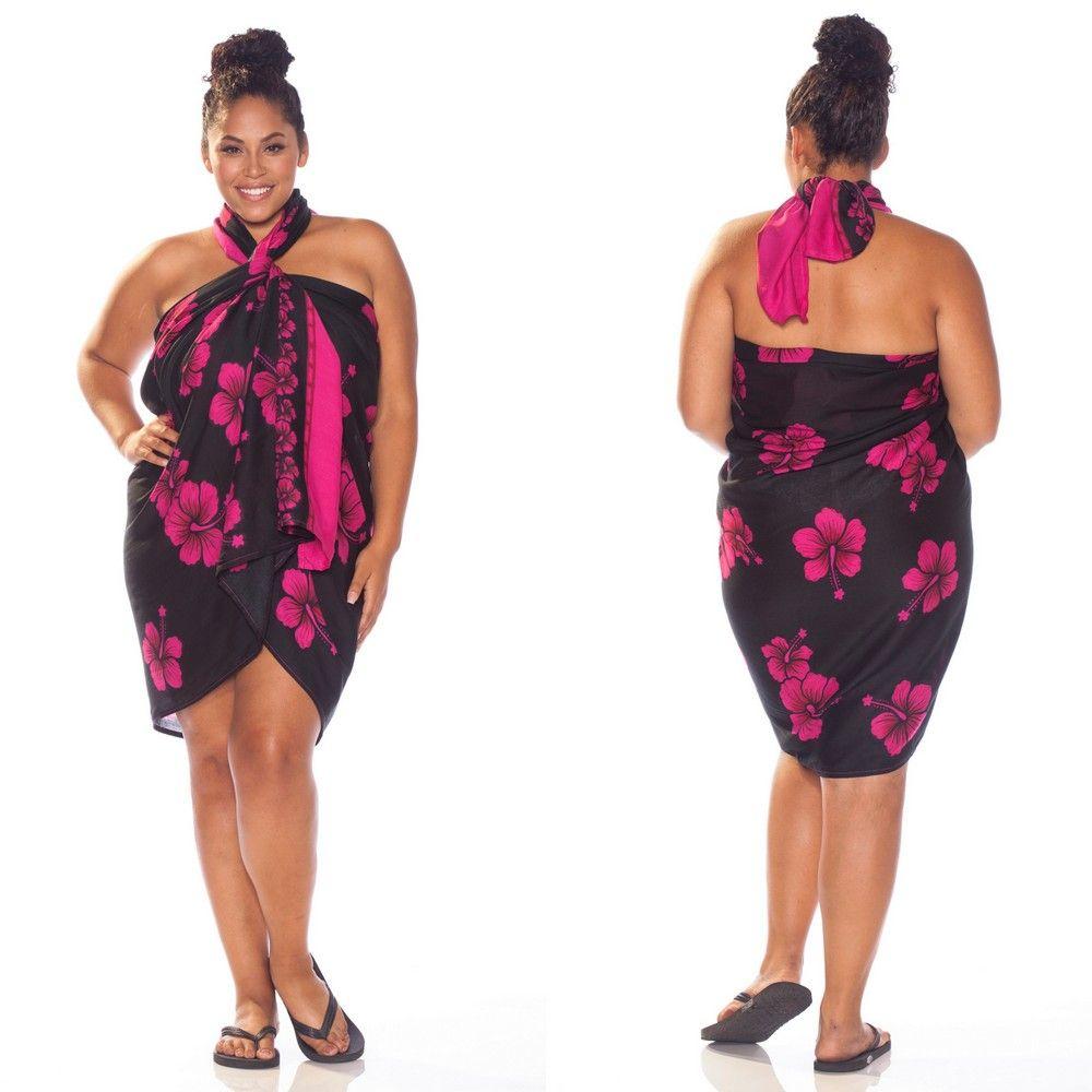 pink hibiscus fringe-less plus size sarong beach wrap. http://www