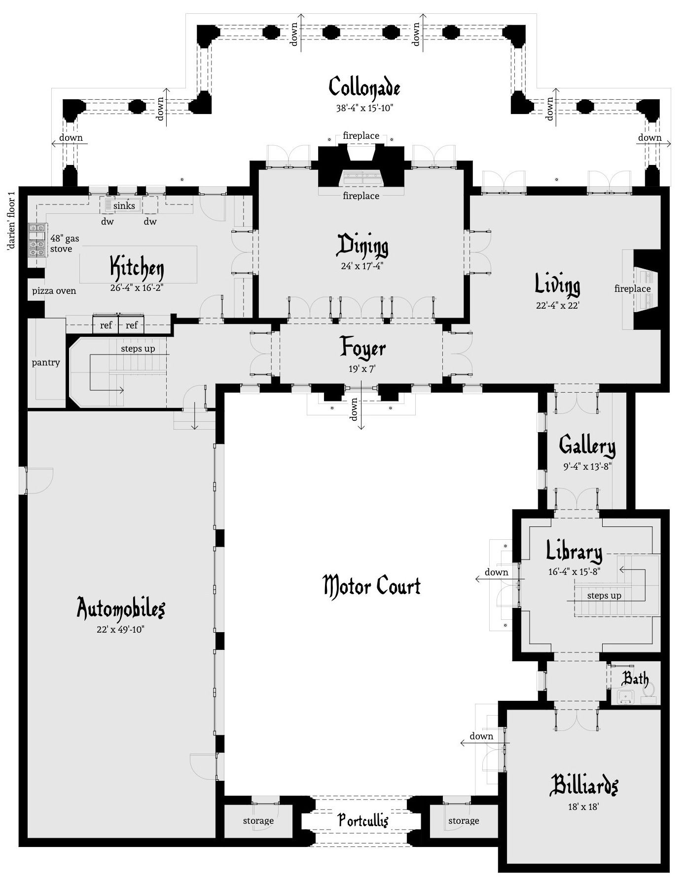Darien castle plan castles castle house plans and beach for Modern castle floor plans