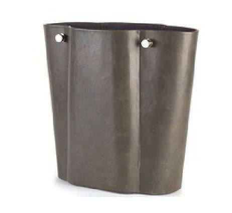 """Serpentine Wastebasket-Grey 13.5""""L x 6.25""""W x 12.25""""H A classic, elegant shape forms the foundation of the Serpentine Collection. Antiqued, soft grey leather exterior, suede interior and brushed nicke"""