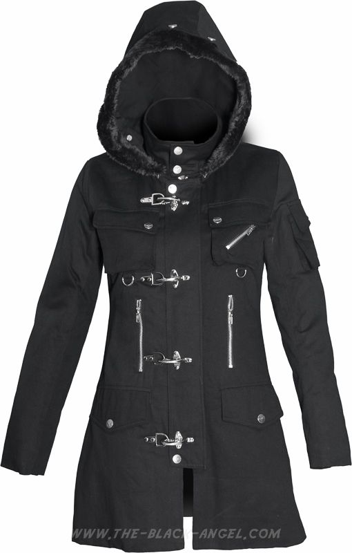41e26c2752b8 Gothic jacket for women, with hood and metal hook details, by Queen of  Darkness.
