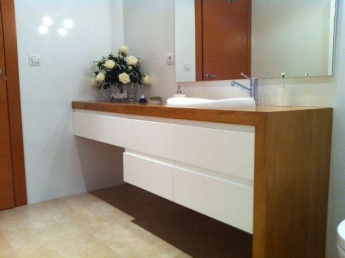 Mueble ba o encimera madera ba os lacados encimera - Encimera bano madera ...