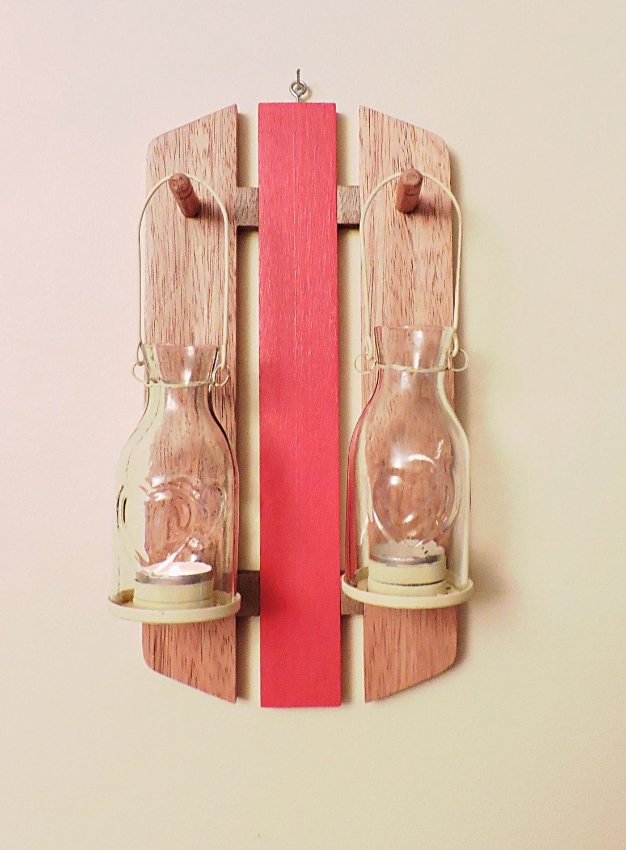 Rustic style wooden sconce with tea light lanternswall hanging mahogany candle sconcehurricane lanternrustic decorglass lantern