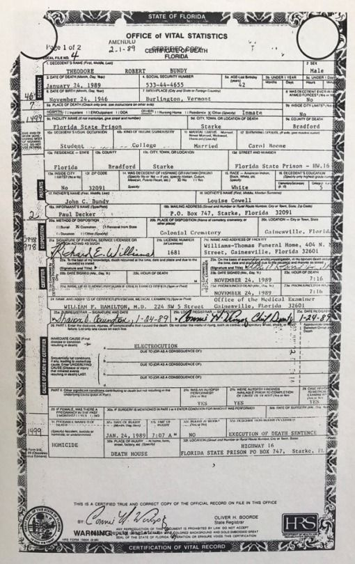 Ted Bundy\'s death certificate | my crazy crime stuff ;) | Pinterest ...