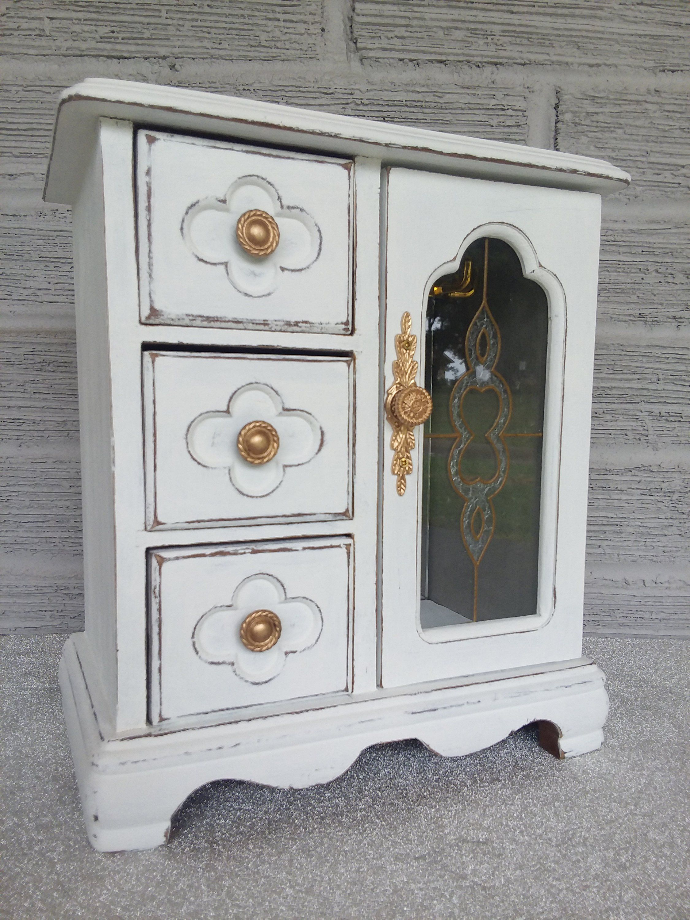 Small Shabby Chic White Jewelry Box Vintage Wooden Jewelry Armoire Painted Distressed Refurbi Shabby Chic Jewellery Box Painted Jewelry Boxes White Shabby Chic