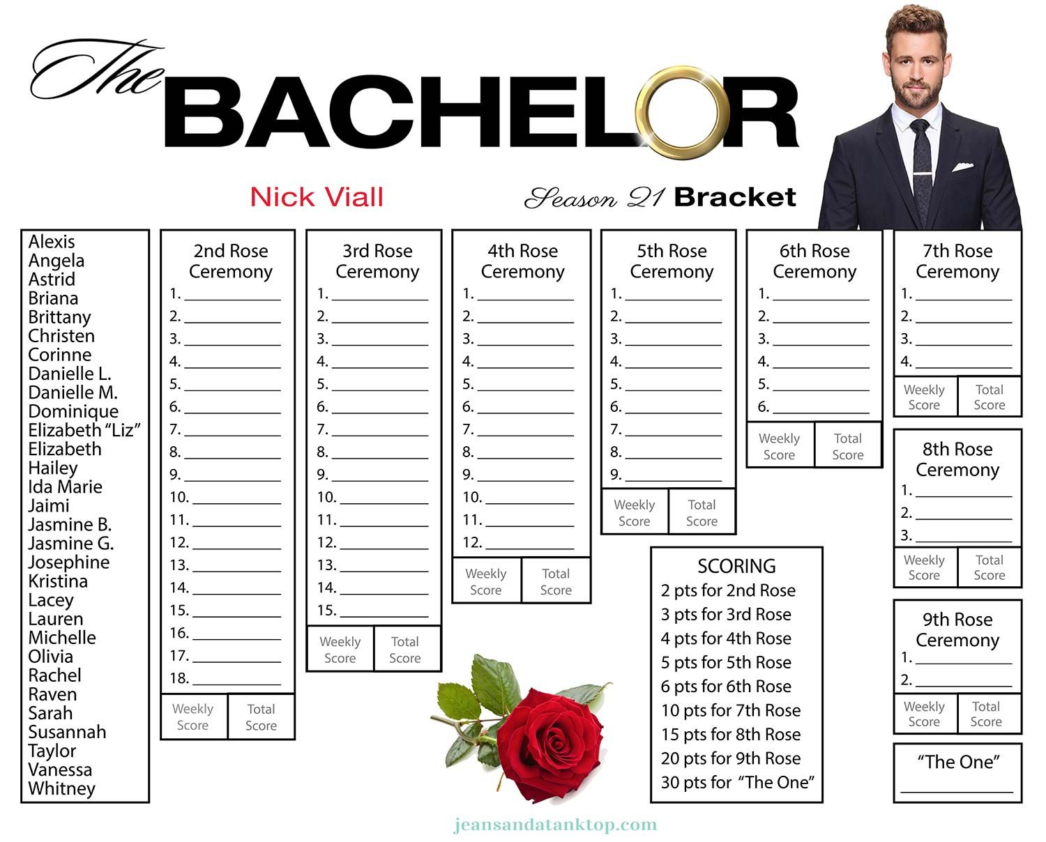 Influential image in bachelor bracket printable nick