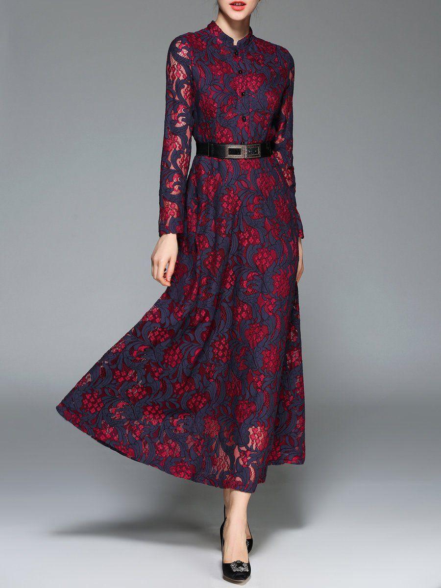 Elegant maxi dresses for weddings  AdoreWe StyleWe Maxi DressesDesigner Pan Ruo Burgundy Lace