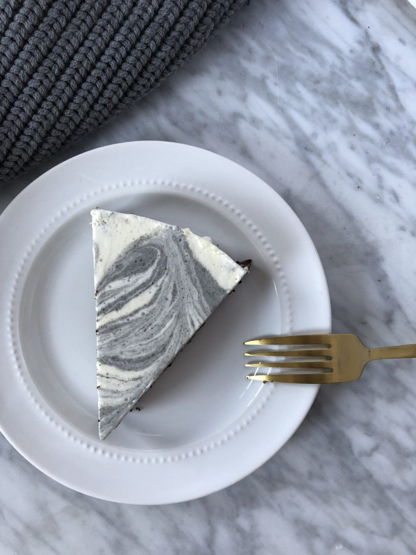 black sesame marble cheesecake  the capsule kitchen