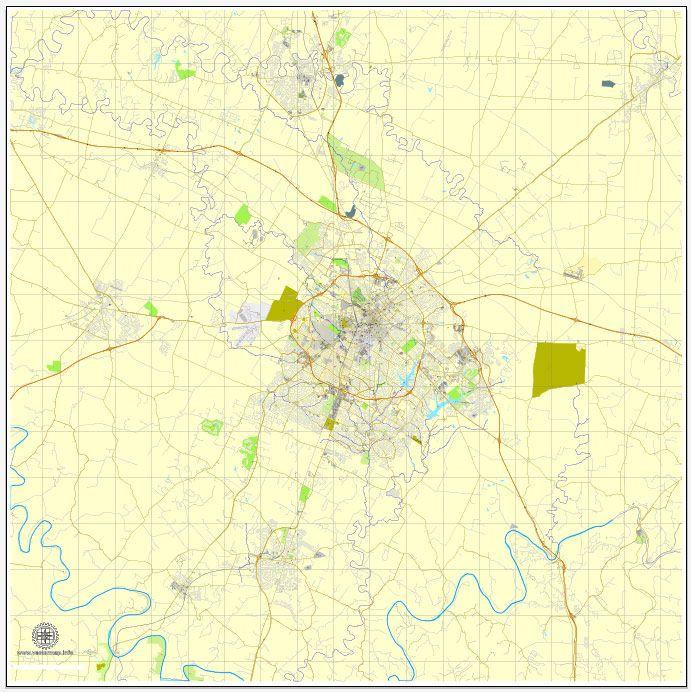 Lexington PDF map, Kentucky, US, vector street City Plan