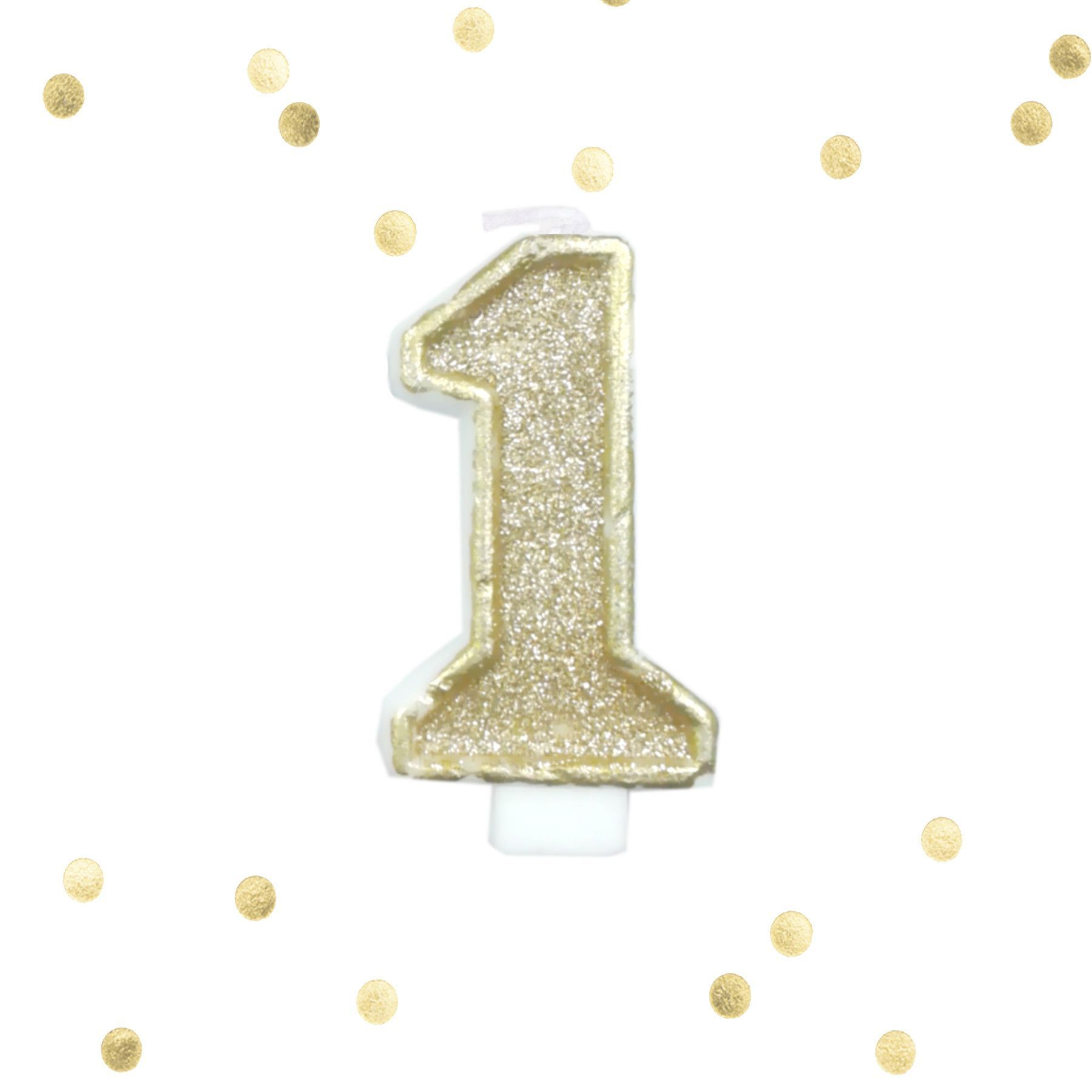 Large Pale Gold Glitter 1st Birthday Candle Number 1 One Smash Cake Topper
