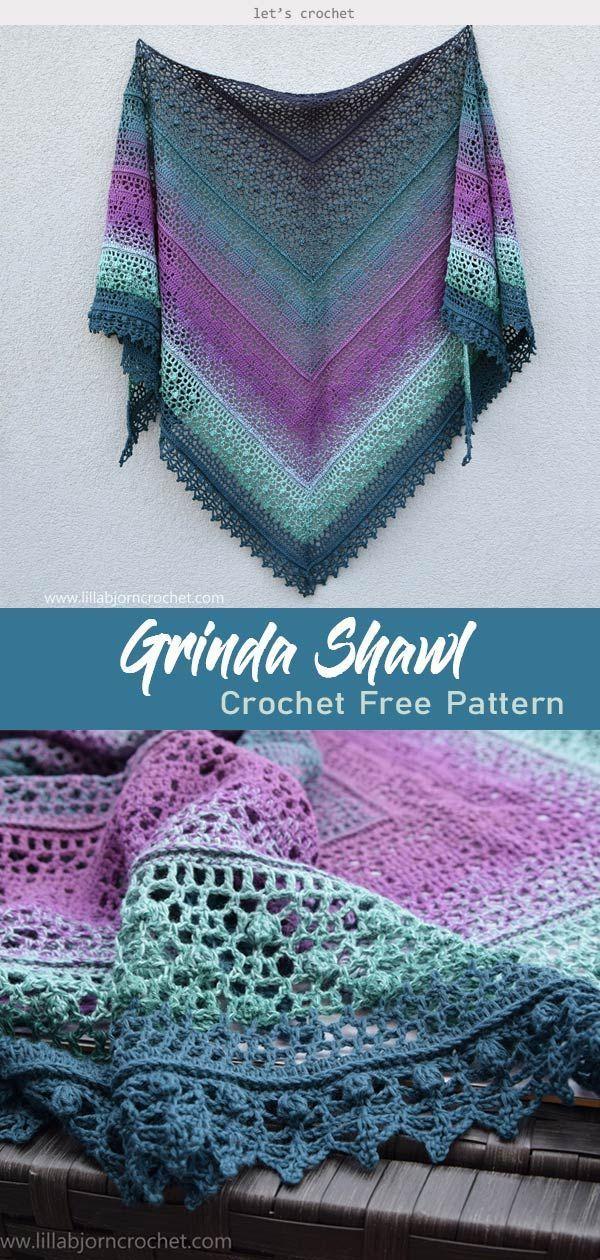 Grinda Shawl Crochet Free Pattern #letscrochetfreepattern #shawlscarf #crochetshawlpattern – Nähen/Häkeln