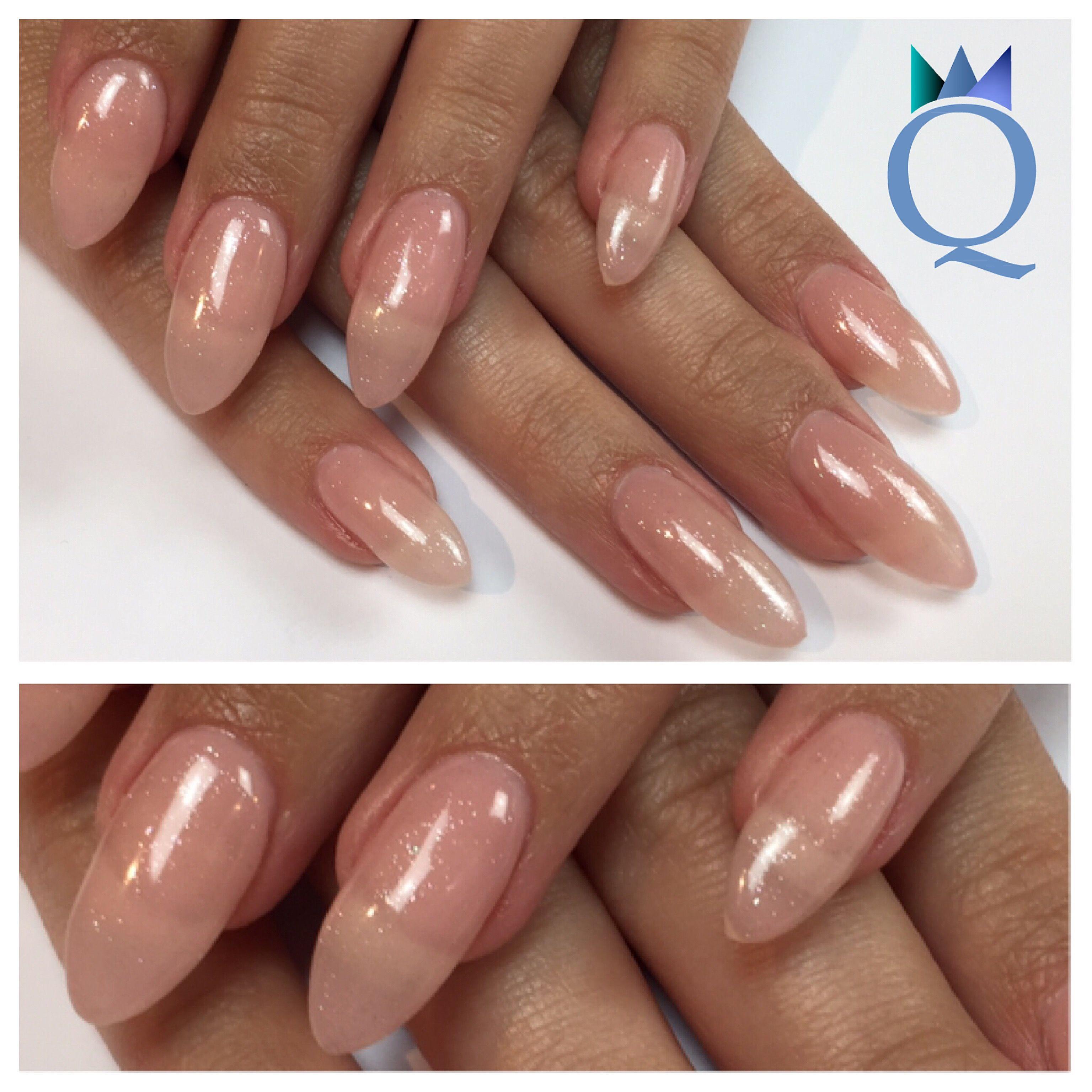 almondnails #gelnails #nails #nudenails #fineglitter #yvesswiss ...