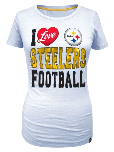 23f466af Pittsburgh Steelers Women's I Love Steelers Football White Tee ...