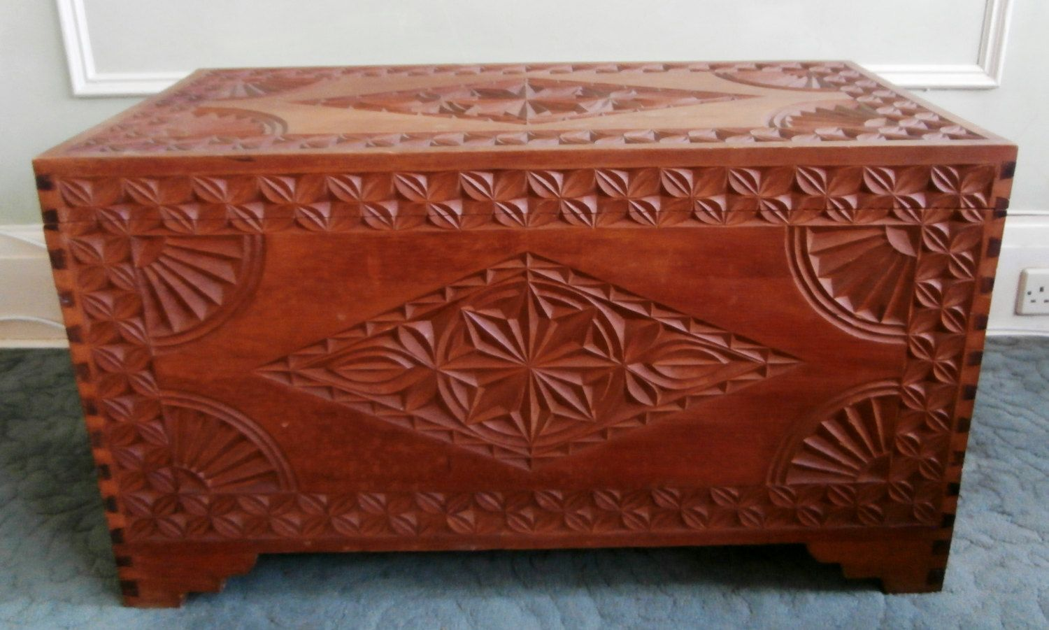 Antique Vintage Large Carved Wood Dowry Chest Trunk Blanket Box Storage Ottoman By Sbdvintage On Etsy