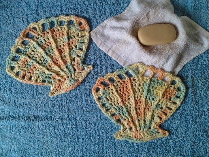 Free Crochet Fish Pillow Pattern : Scallop Sea Shell Washcloths ~ Crochet is the Way ...