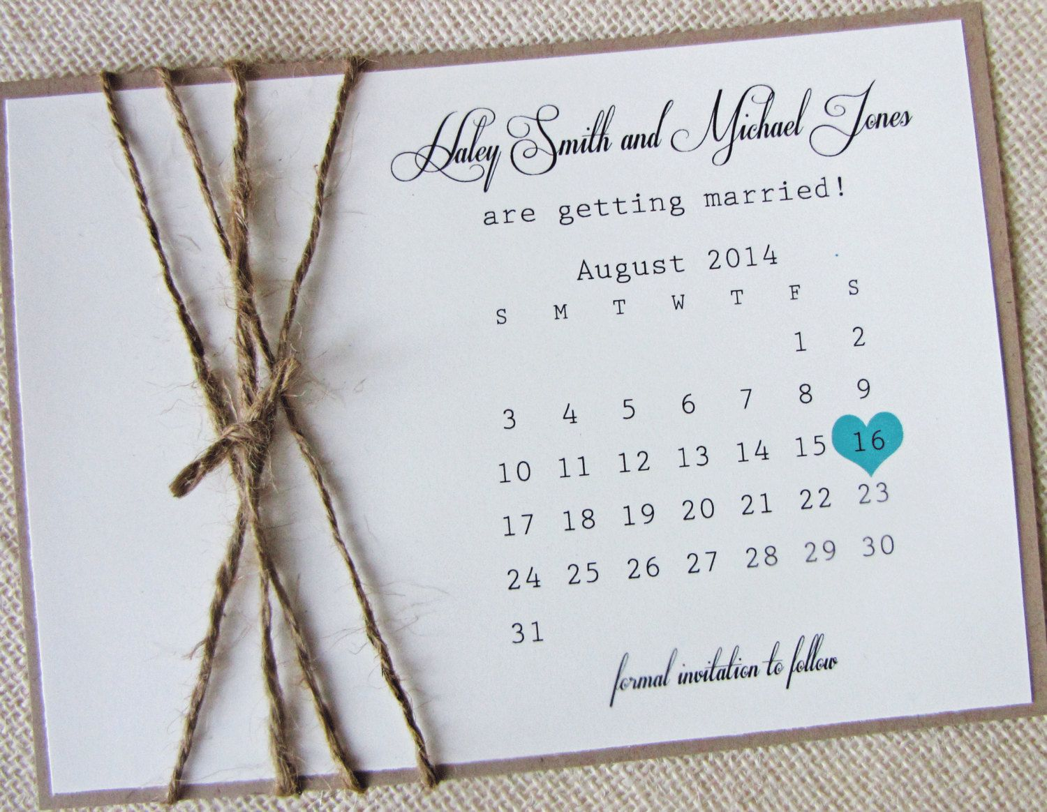 Rustic burlap twine save the date card calendar by loveofcreating