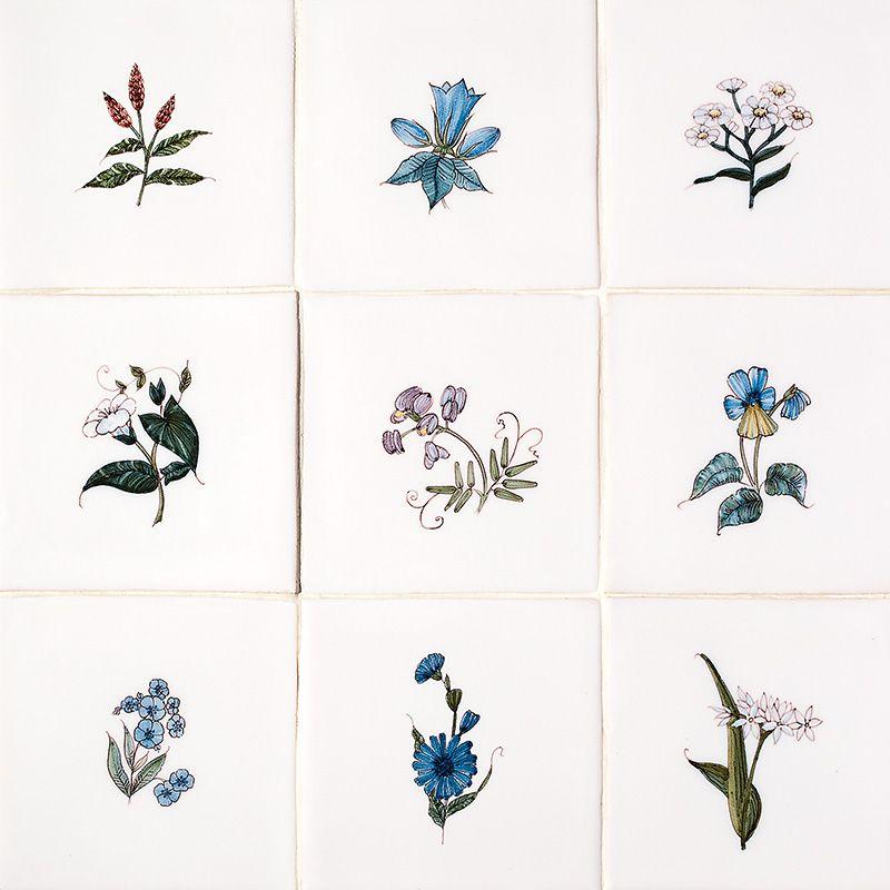 Friesland Flowers Poly On White Glazed Ceramic Tiles X Country - 5x5 white ceramic tile