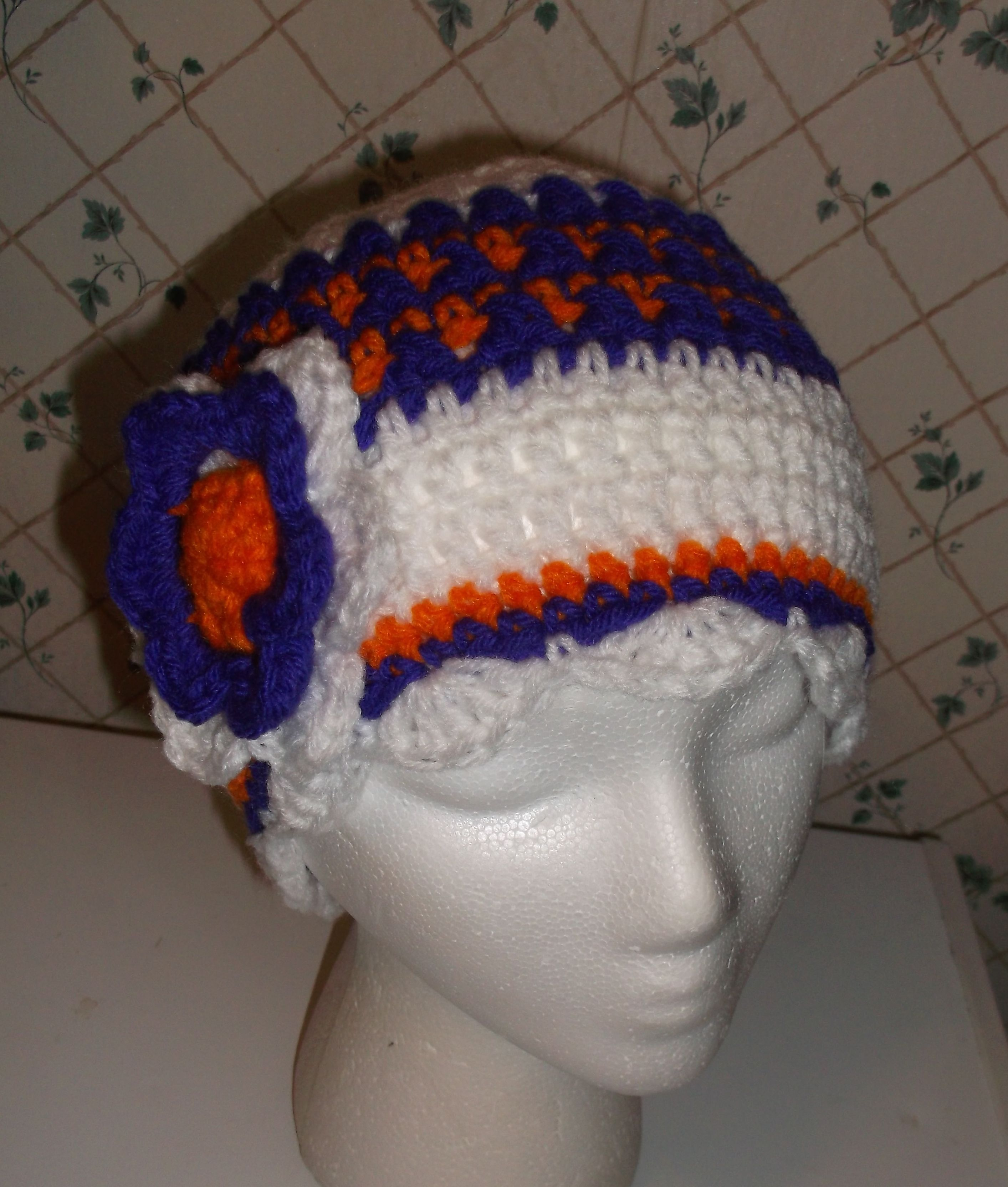 Crochet hat with flower clemson colors no pattern crochet crochet hat with flower clemson colors no pattern bankloansurffo Choice Image