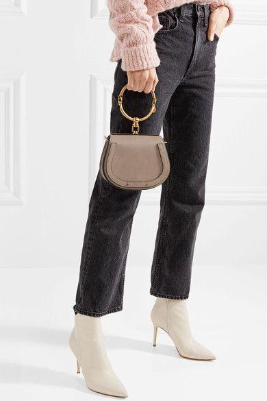 cc83af1d72 Chloé - Nile Bracelet Small Textured-leather And Suede Shoulder Bag - Gray