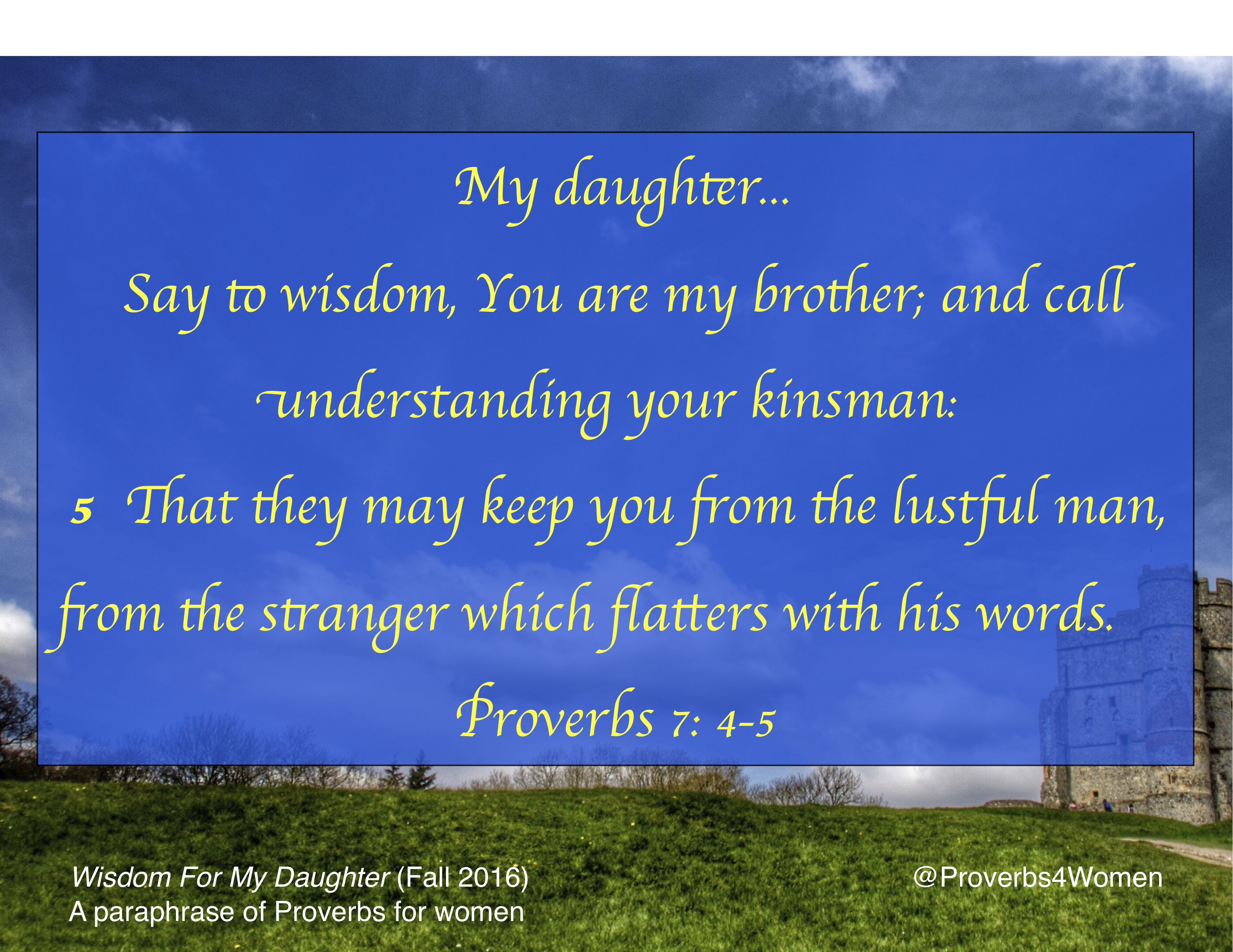 Proverb 7 4 5 Wisdom Keep You Safe Book Of Paraphrase For My Daughter