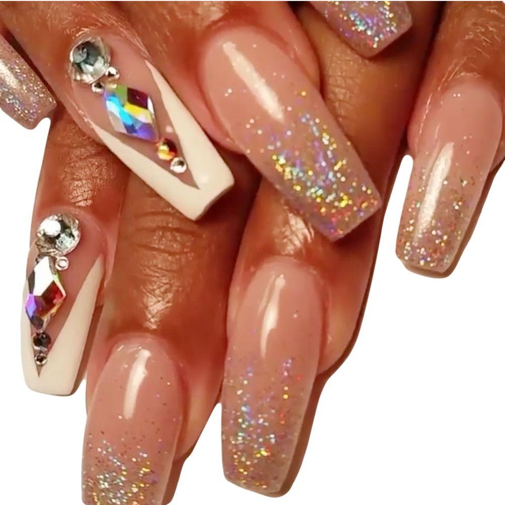 10 개 반짝이 크리스탈 3d 네일 아트 평면 다시 모조 다이아몬드 손톱 장식 새로운 도착 돌 50 디자인