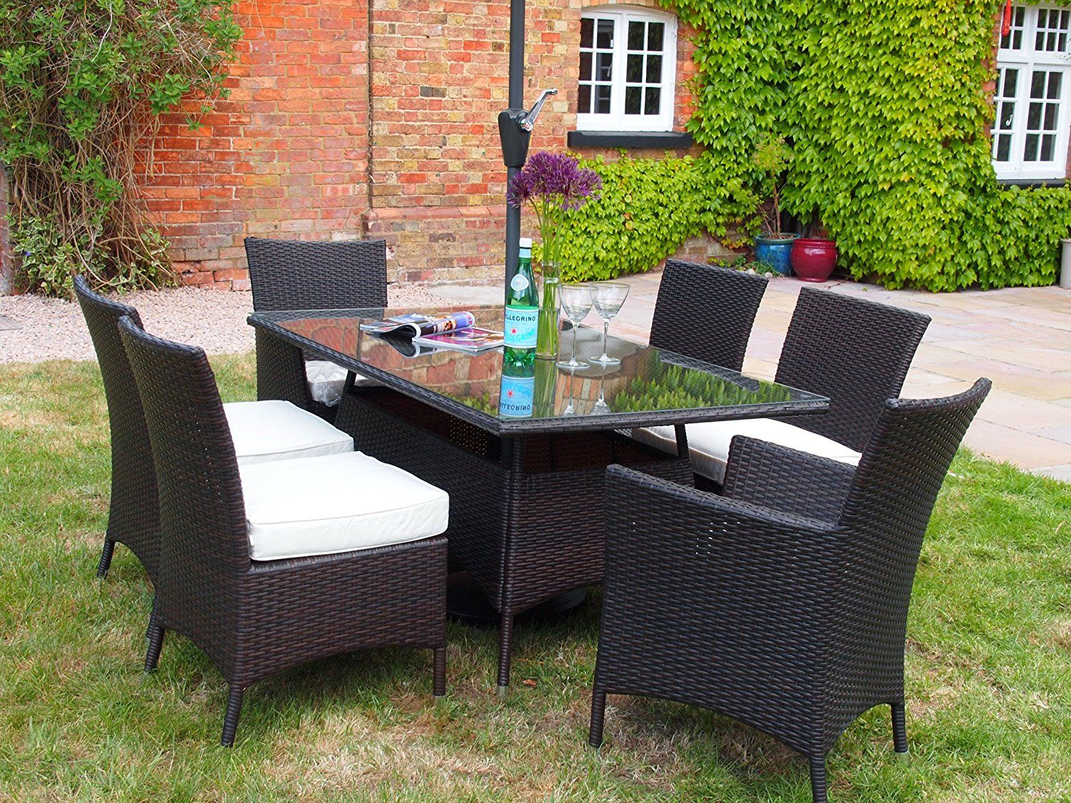 Barcelona Rectangular Grey Rattan Garden Furniture Table and 6 Chairs  Dining Set  Amazon co. Barcelona Rectangular Grey Rattan Garden Furniture Table and 6