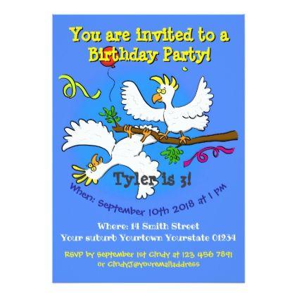 Happy Birds 3 Years Old Birthday Party Invite