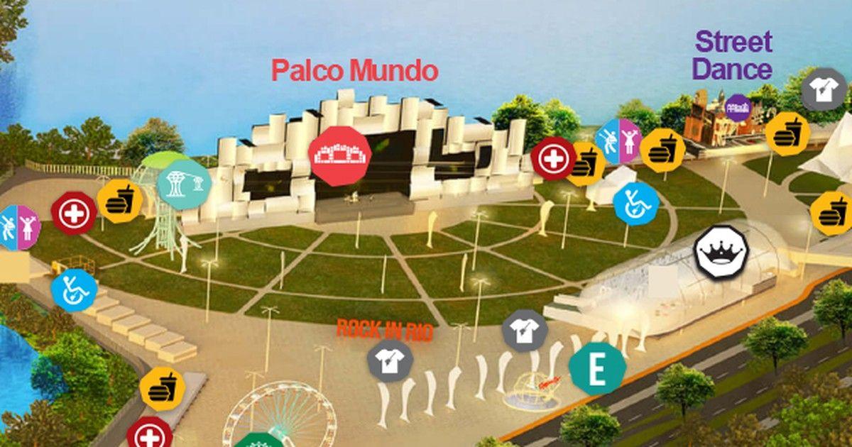 rock in rio mapa Rock in Rio: Veja mapa da Cidade do Rock   Pinterest   Rod stewart  rock in rio mapa