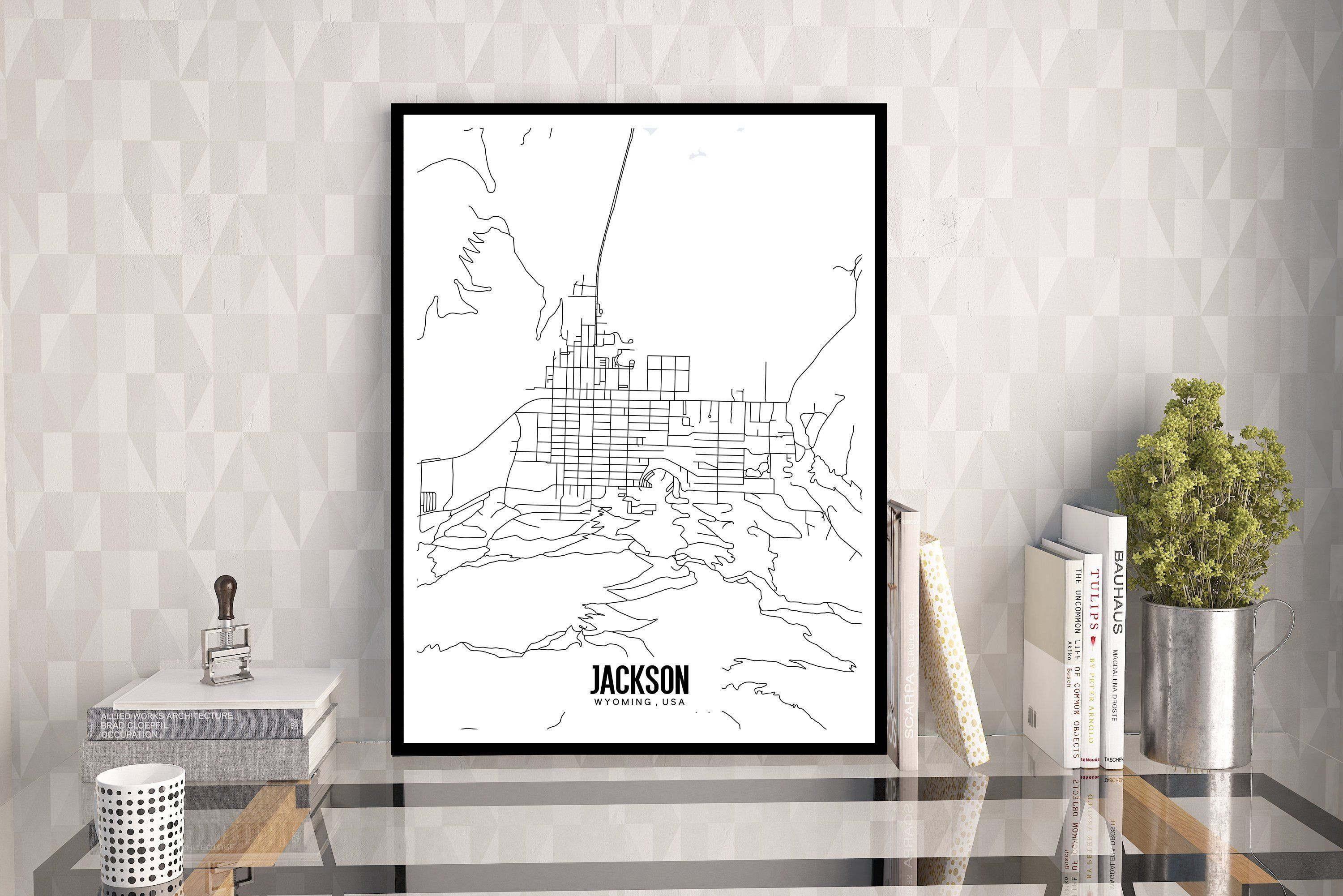Jackson Wyoming Map Printable Jackson Wy Wall Art Grand Etsy Wyoming Map Cabin Art City Wall Art