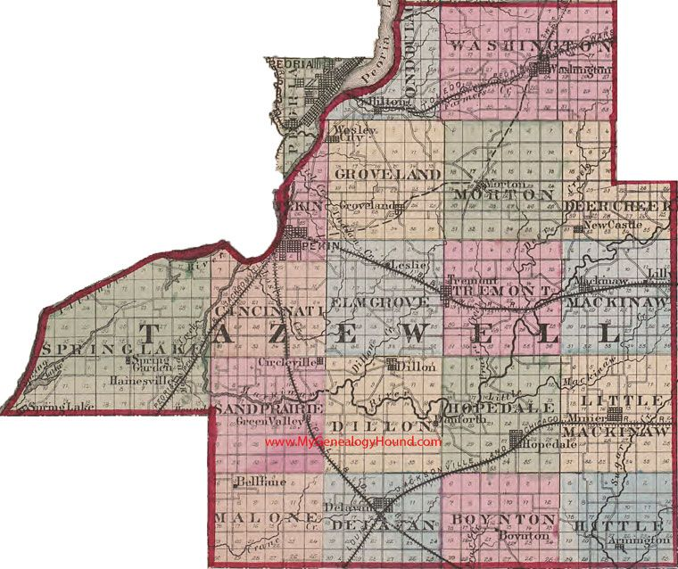 City Of Morton Illinois: Tazewell County, Illinois 1870 Map Pekin, Morton