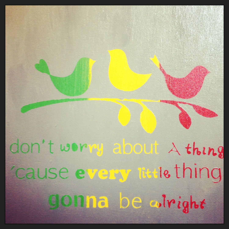 Bob Marley Three Little Birds 12x12 Acrylic On Canvas With