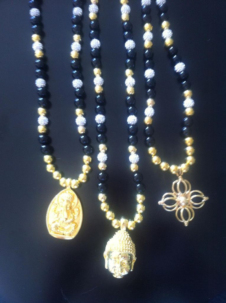 Onyx kæde med guld Ganesh, Buddha el. dobbelt dorje/ starrock.dk